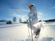 Schneeschuh-Sprung