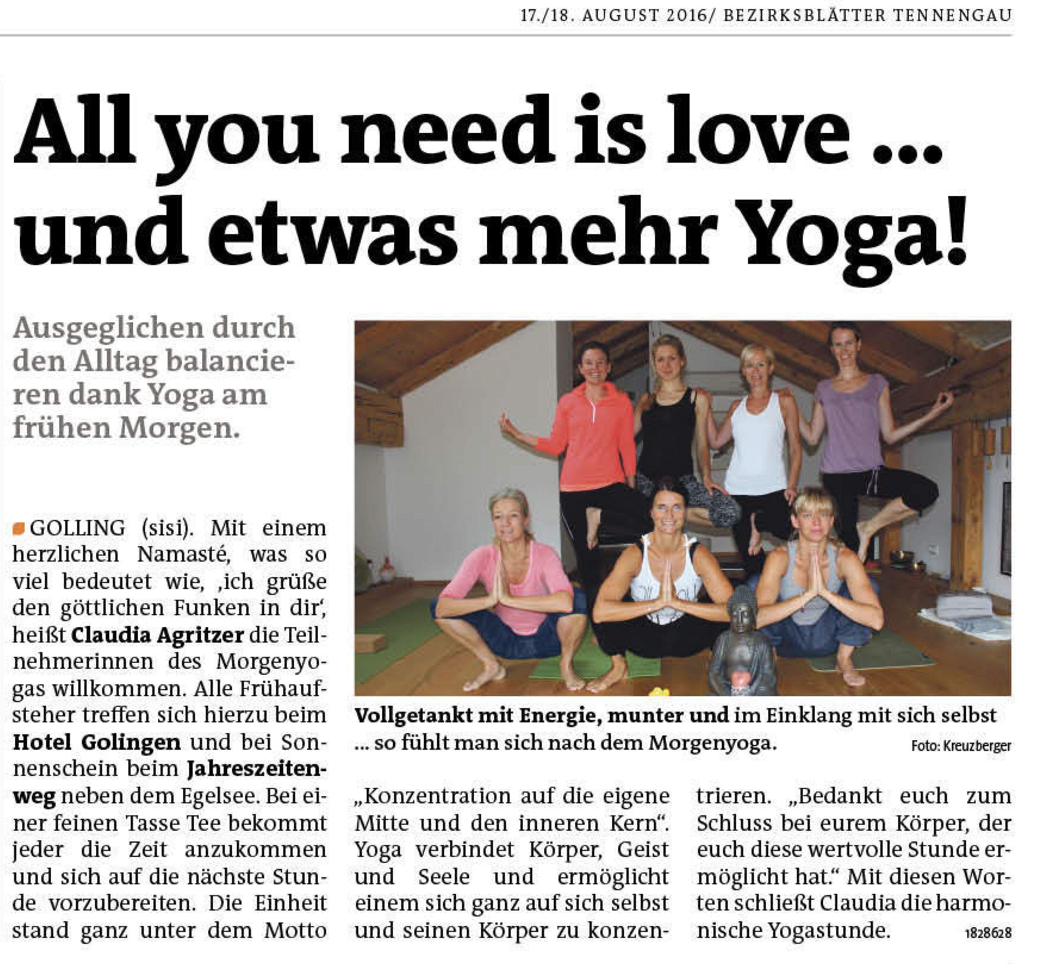 Bezirksblaetter All you need is love and yoga Golling